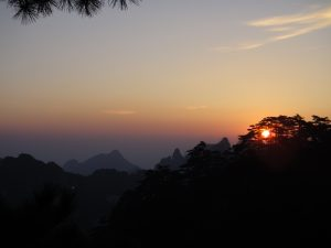 Sunrise Photo of the Huang Shan Mountains